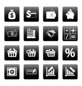Finance icons on black squares — Stock Vector