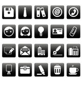 Office icons on black squares — Stock Vector