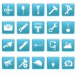 Tools icons on blue squares — Stock Vector