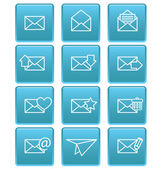 Envelope icons for email on blue squares — Stock Vector