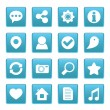 Social media icons on blue square — Vector de stock