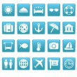 Stock Vector: Travel icons on blue squares