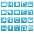 Media icons on blue squares — Stock Vector