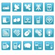 Wireless icons on blue squares — Stock Vector #24931019
