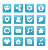 Social media icons on blue square — Stock Vector