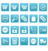 Shopping icons on blue squares — Stock Vector