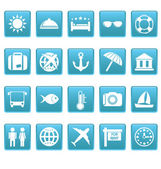 Travel icons on blue squares — Stock Vector