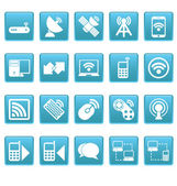Wireless icons on blue squares — Stock Vector