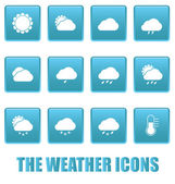 Weather icons on blue squares — Stock Vector