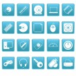 Computer icons on blue squares — Stock Vector #24973207