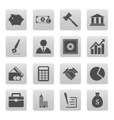 Business icons on gray squares — Stock Vector