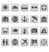 Travel icons on gray squares — ストックベクタ