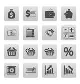 Shopping icons on gray squares — Stock Vector