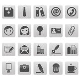 Office icons on gray squares — Stock Vector