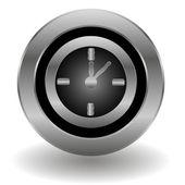 Metallic clock button — Stock Vector