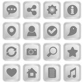 Sociale pictogrammen op witte toetsenbord knoppen — Stockvector