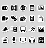 Media icons stickers — Stock Vector