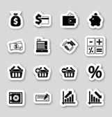 Finance icons on stikers — Stock Vector
