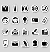 Office icons on stikers — Stock Vector