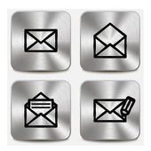 Envelope icons on metallic buttons set vol1 — Stock Vector