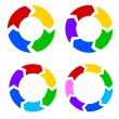 Color circle arrows set vector — Stock Vector