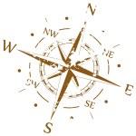 Коричневая гранж вектор компас — Cтоковый вектор