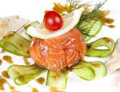 Closeup - Smoked salmon salad — Stock Photo