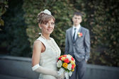 Bride with a bouquet — Stock Photo