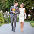 Stock Photo: Beautiful bride and groom outdoors