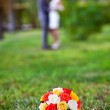 Wedding bouquet of yellow and white roses — Stock Photo #15811461