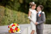 Düğün buketi odak — Stok fotoğraf