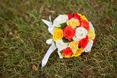 Wedding flowers - Wedding bouquet of yellow and white roses and — Stock Photo