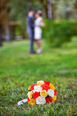 Wedding bouquet of yellow and white roses — Stock Photo