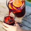 Refreshing sangria (punch) with fruits — Stock Photo