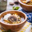 Lentil soup with mushrooms — Stock Photo