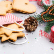 Packaging ginger cookies for Christmas — Stock Photo