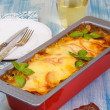 Meat casserole with mozzarella and tomatoes — Stock Photo