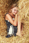 Hiding in straw — Stock Photo