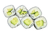 Rolls with cucumber top view — Stok fotoğraf