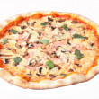 Pizza with mushrooms and ham — Stock Photo