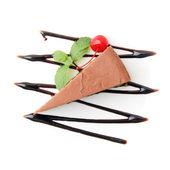 Lobe of chocolate cheesecake — Stock Photo