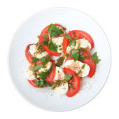 Mozzarella with tomato, fresh basil and capers sauce — Stock Photo