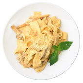 Papardelle with ceps in cream sauce — Stock Photo