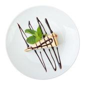 Stück vanille-käsekuchen — Stockfoto