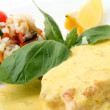 Scottish salmon steak in a creamy saffron sauce — Stock Photo #16251669