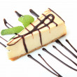Vanilla cheesecake with mint — Stok fotoğraf