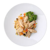 Rice with vegetables and chicken — Stock Photo