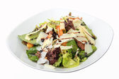 Salad with chicken liver and orange honey dressing — Stock Photo