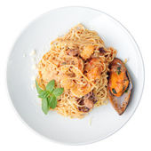 Tagliolini with seafood — Stock Photo