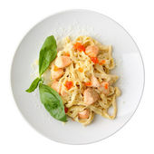 Top view of fettuccine with salmon and caviar — Zdjęcie stockowe